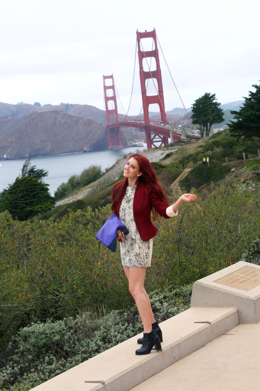 Francesca was inspired by the drama, sophistication and humor Sophia Loren always exuded in comedic roles- being a bit cheeky, flirty and fun. This character came to life in a bright red 1970s inspired mini dress, suede vintage Ferragamo bag, and bright yellow bangles to offset the cloudy San Franciscan skies. Valentina embraced one of her favorite American actresses- the elegant Faye Dunaway - and her strong, yet feminine look from the 1960s. The clean and slightly formal pairing of the dress and blazer were accompanied by a soft leather, bright purple color-block clutch and a care-free hairstyle, which are somewhat signature pieces for Valentina. To bring out her inner geek she threw on her reading glasses and embraced a quirky, ladylike push and pull of opposites - creating a tension via color, pattern and preconceived connotations. Familiar, but edgy...quite the naughty librarian gone wild!