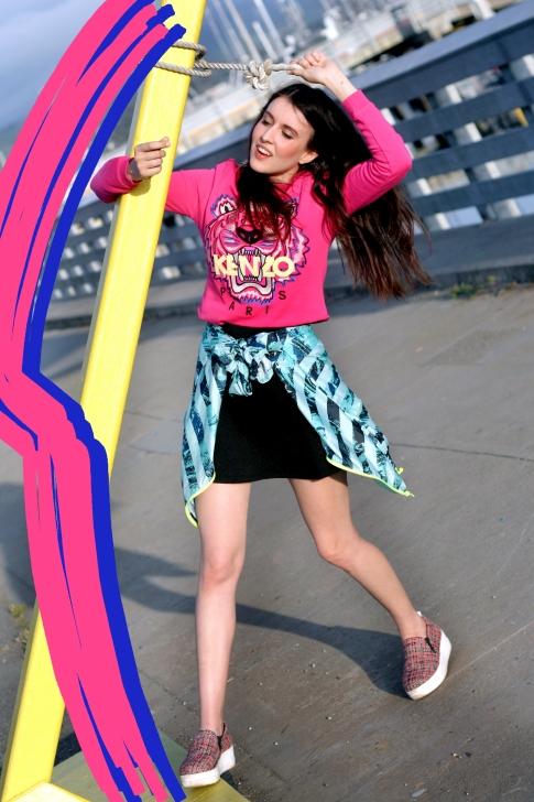 Kenzo, Kenzo Collection, Fashion Bloggers, Top Fashion Blogs, San Francisco, Kenzo Tiger Sweatshirt, KENZO Spray Collage Dress, Kenzo Editorial, Fashion Platform, Half Moon Bay Photoshoot, Summer Fashion Looks,